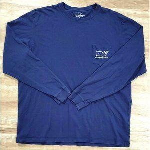 Vineyard Vines Mens Santa Christmas Blue T-Shirt